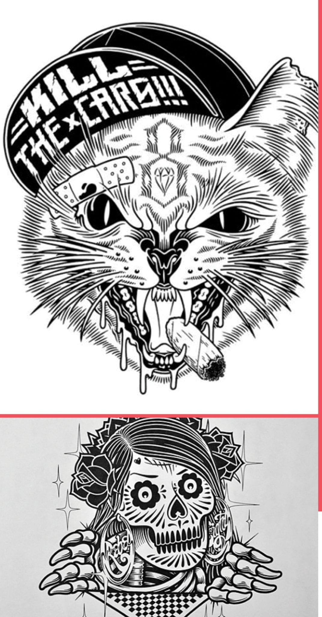 Mike Giant cat and skull ilustrations